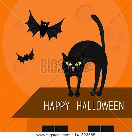 Cat arch back. Kitty on roof. Yellow eyes fangs curl whisker. Flying bats. Happy Halloween card. Moon house windows. Funny cartoon character Isolated Orange background. Flat design Vector