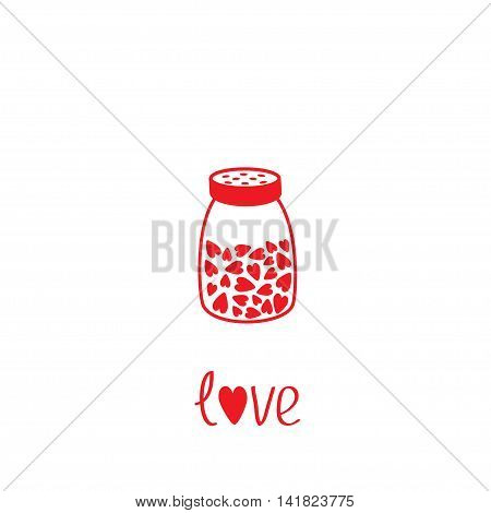 Salt shaker with hearts crystals inside. Glass container. Line icon. Love card. Flat design. Isolated. White background. Vector illustration.