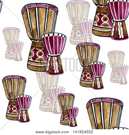 Drums ethnic seamless pattern in watercolor style.