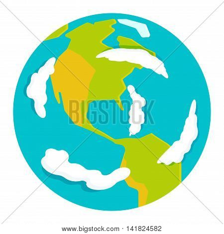 Globe earth icon planet map symbol vector illustration. Education globe toy icon and graphic sphere. Geography element globe icon tool isolated on white background