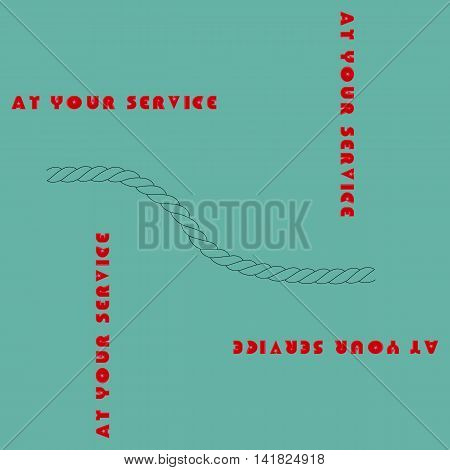 illustration on which the inscription at your service on a yellow background is represented