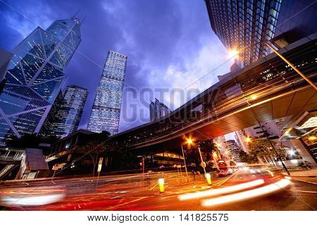 Traffic through modern city at night, Blurred Motion