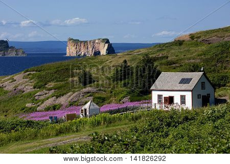 Beautiful view of The Rocher Perce from Bonaventure island in Perce, Gaspesie, Canada