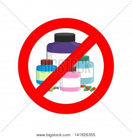 Stop Doping. It Is Forbidden To Take Stimulants. Crossed-out Sports Nutrition And Pills. Emblem Agai