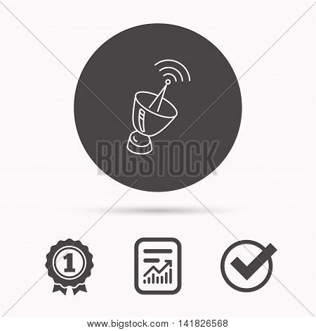 Antenna icon. Sputnik satellite sign. Radio signal symbol. Report document, winner award and tick. Round circle button with icon. Vector