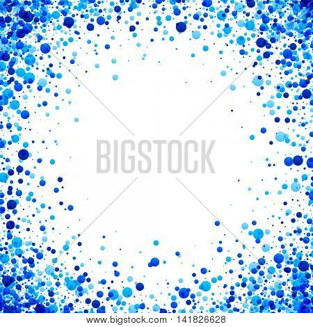 White paper background with blue drops. Vector illustration.