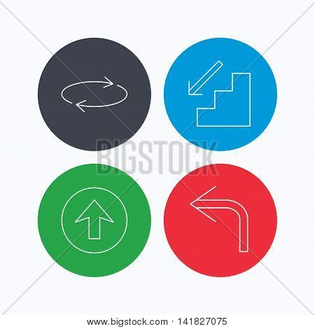 Arrows icons. Upload, repeat and shuffle linear signs. Turn left, downstairs arrow flat line icons. Linear icons on colored buttons. Flat web symbols. Vector