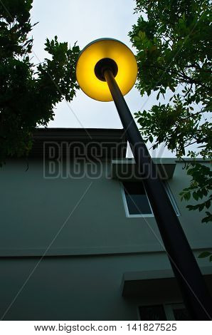 Lamp Post at night for decoration in public