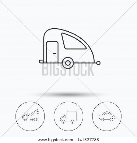 Car, delivery truck and evacuator icons. Travel van linear signs. Linear icons in circle buttons. Flat web symbols. Vector