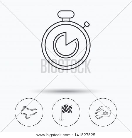 Race flag, timer and motorcycle helmet icons. Race lap linear sign. Linear icons in circle buttons. Flat web symbols. Vector