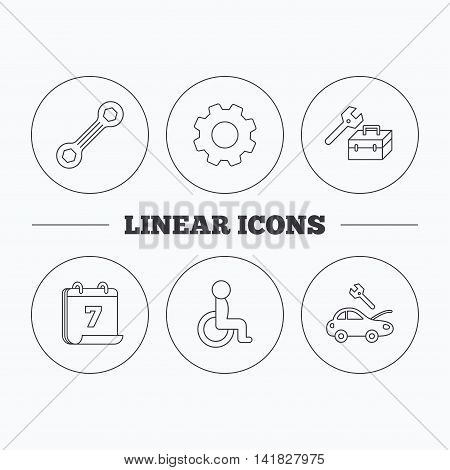 Repair toolbox, spanner tool and car service icons. Disabled person linear sign. Flat cogwheel and calendar symbols. Linear icons in circle buttons. Vector