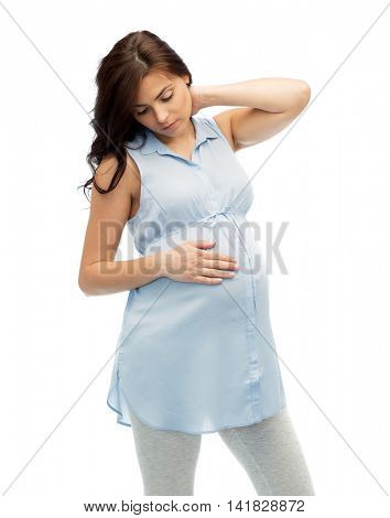 pregnancy, health, people and expectation concept - pregnant woman in bed touching her back and suffering from neck ache over white background