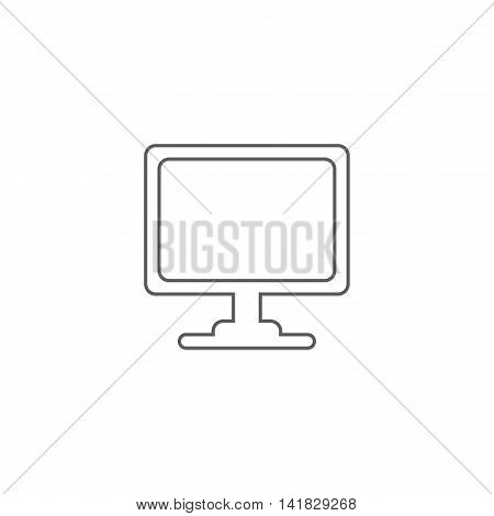 Vector illustration of monitor icon on white background. Simple black symbol. Eps10 format vector.