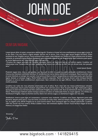 Modern cover letter resume cv curriculum vitae template with red wave