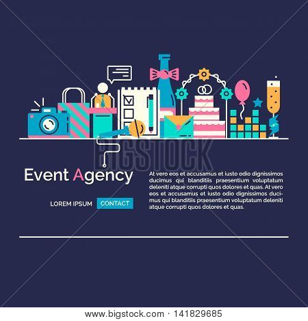 Catering service agency, marketing agency icons. Graphic concept of event marketing. Website elements.