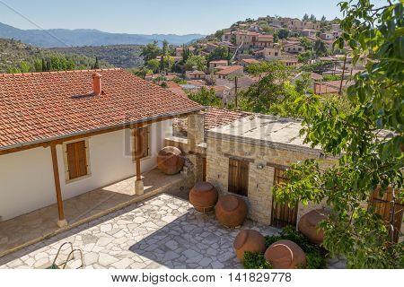 Yard In Traditional Mountain Village Of Lofou, Cyprus