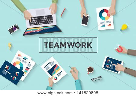 Concept design of business teamwork, meeting and planning people sitting at the office table, top view. Brainstorm of teamwork and results. Vector Illustration