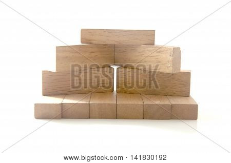 blocks wood game (jenga) on white background