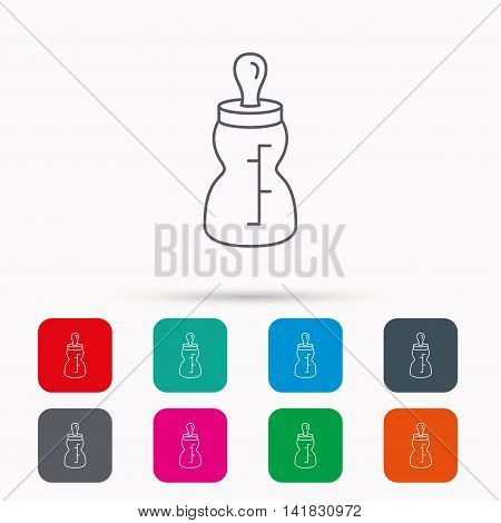 Baby feeding bottle icon. Drink glass with pacifier sign. Child food symbol. Linear icons in squares on white background. Flat web symbols. Vector