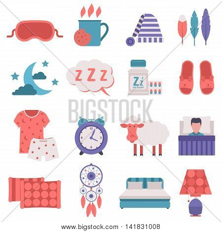Simple set of sleep related vector icons. Set button human clock sleep icons hostel bedding relaxation. Bedroom art lifestyle healthy nap sleep icons nightlife dreamcatcher collection.