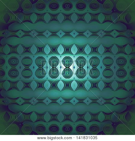 Abstract geometric seamless background, modern and gradient. Regular circles, ellipses and diamond pattern in dark green, turquoise and dark blue shades, centered, blurred and shiny.