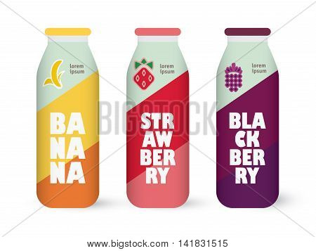 Bottle of juice, sugar water, tea or cocktail with drawing strawberry, blackberry and banana. Isolated on the white background. Concept design for juice or cocktail.