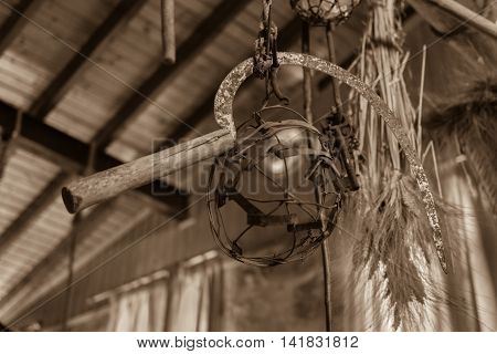 Traditional Cypriot Sickle Decorated In A House, Lofou Village