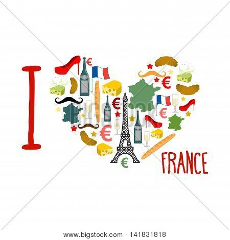 I Love France. Traditional French National Set Of Icons In Form Of Heart. Eiffel Tower And Croissant