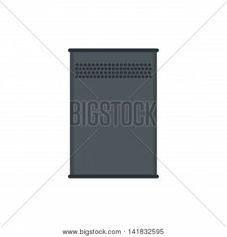 Aluminum trash can icon in flat style isolated on white background