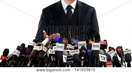 Press conference with the media over white