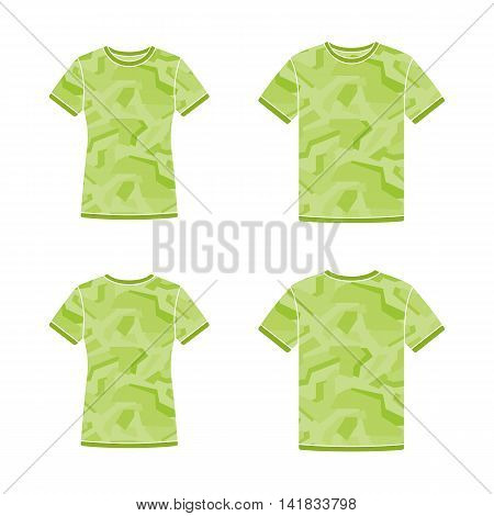 Mens and womens green short sleeve t-shirts templates with the camouflage pattern. Front and back views. Vector flat illustrations