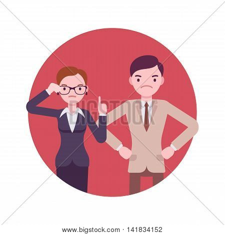 Strict office workers. Man and women in a formal wear. Cartoon vector flat-style business concept illustration