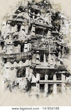 ancient city of Myra, Antalya, Turkey. Vintage painting, background illustration, beautiful picture, travel texture