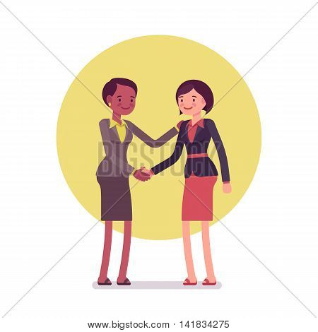 Handshake. Two women in a formal wear. Cartoon vector flat-style business concept illustration