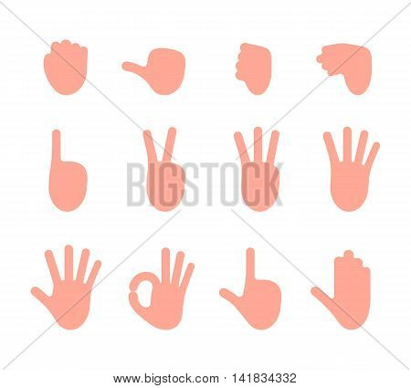 Set of 12 hand gestures. Fist, pointing, like, dislike, victory, palm, ok, gun, hold. Cartoon vector flat-style illustration