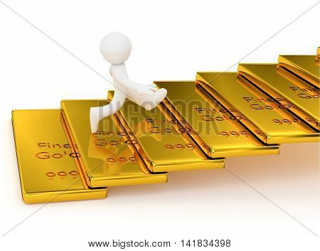 Small character running upstairs on a gold bars aim high concept 3d rendering