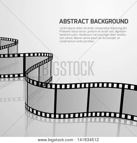 Vector cinema movie background with retro film strip roll. Negative film strip for cinema, illustration of concept banner fo cinematography and cinema