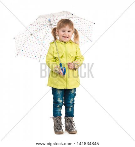 funny little girl in yellow coat holding umbrella in hand isolated on white background