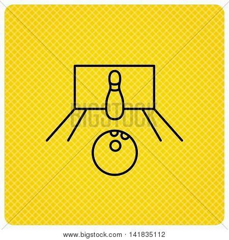 Bowling icon. Skittle or pin with ball sign. Competition sport symbol. Linear icon on orange background. Vector