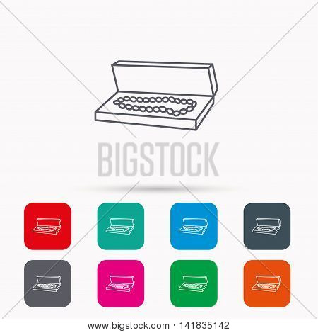 Jewelry box icon. Luxury precious sign. Linear icons in squares on white background. Flat web symbols. Vector