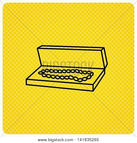 Jewelry box icon. Luxury precious sign. Linear icon on orange background. Vector