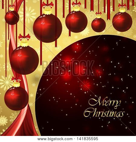 Vector christmas background with baubles on a dark red.