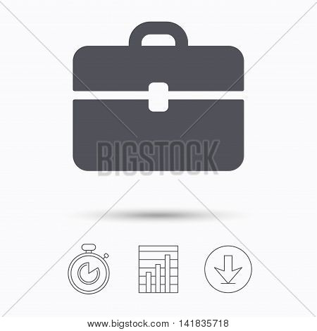 Briefcase icon. Diplomat handbag symbol. Business case sign. Stopwatch, chart graph and download arrow. Linear icons on white background. Vector