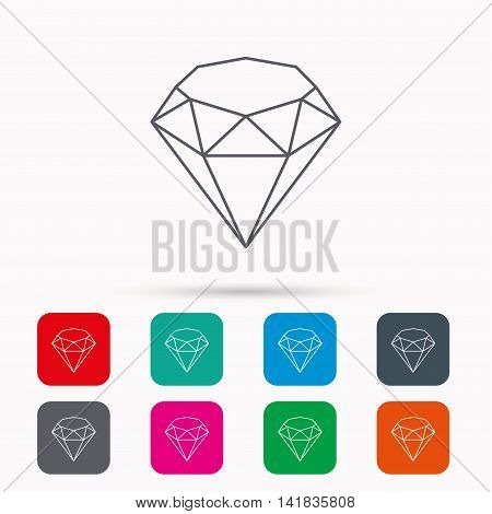 Brilliant icon. Diamond gemstone sign. Linear icons in squares on white background. Flat web symbols. Vector