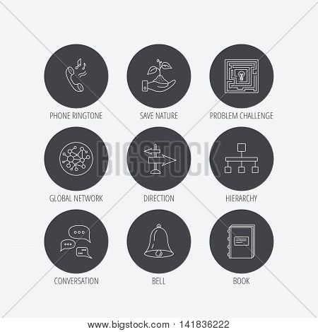 Conversation, global network and direction icons. Save nature, maze and book linear signs. Bell and phone ringtone flat line icons. Linear icons in circle buttons. Flat web symbols. Vector
