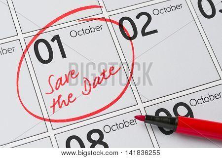 Save The Date Written On A Calendar - October 1