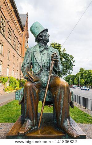 Copenhagen Denmark - July 20 2015: The Hans Christian Andersen monument in the City Hall square