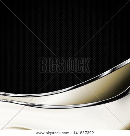 black carbon fiber and curve chromium frame. metal background. material design. 3d illustration.