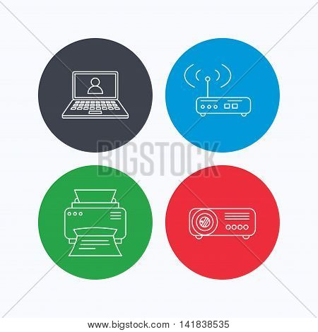 Printer, wi-fi router and projector icons. Webinar linear sign. Linear icons on colored buttons. Flat web symbols. Vector