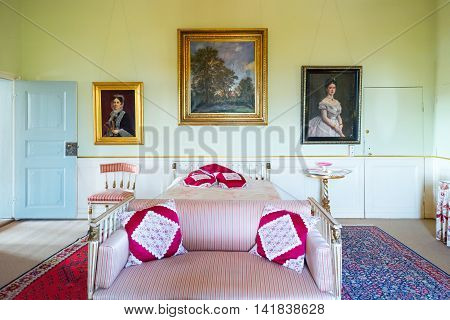 Kvaerndrup Denmark - July 21 2015: The bedroom of the Countess Jessy in the Egeskov castle